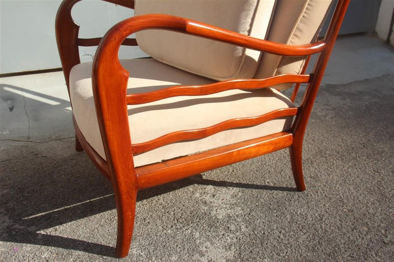 Pair of Armchairs Cherrywood Paolo Buffa Midcentury Italian Design 1950 Beige For Sale 5