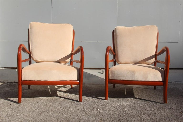 Pair of Armchairs Cherrywood Paolo Buffa Midcentury Italian Design 1950 Beige In Good Condition For Sale In Palermo, Sicily