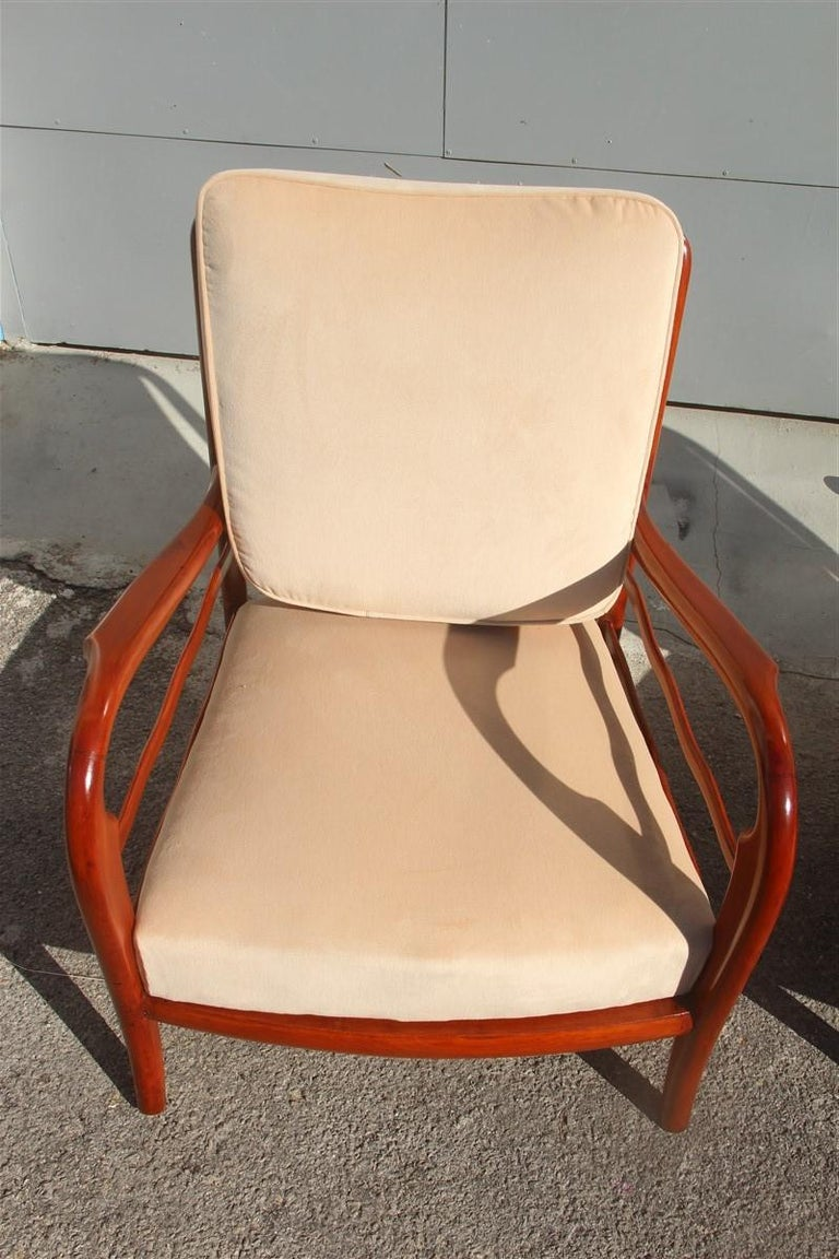 Mid-20th Century Pair of Armchairs Cherrywood Paolo Buffa Midcentury Italian Design 1950 Beige For Sale