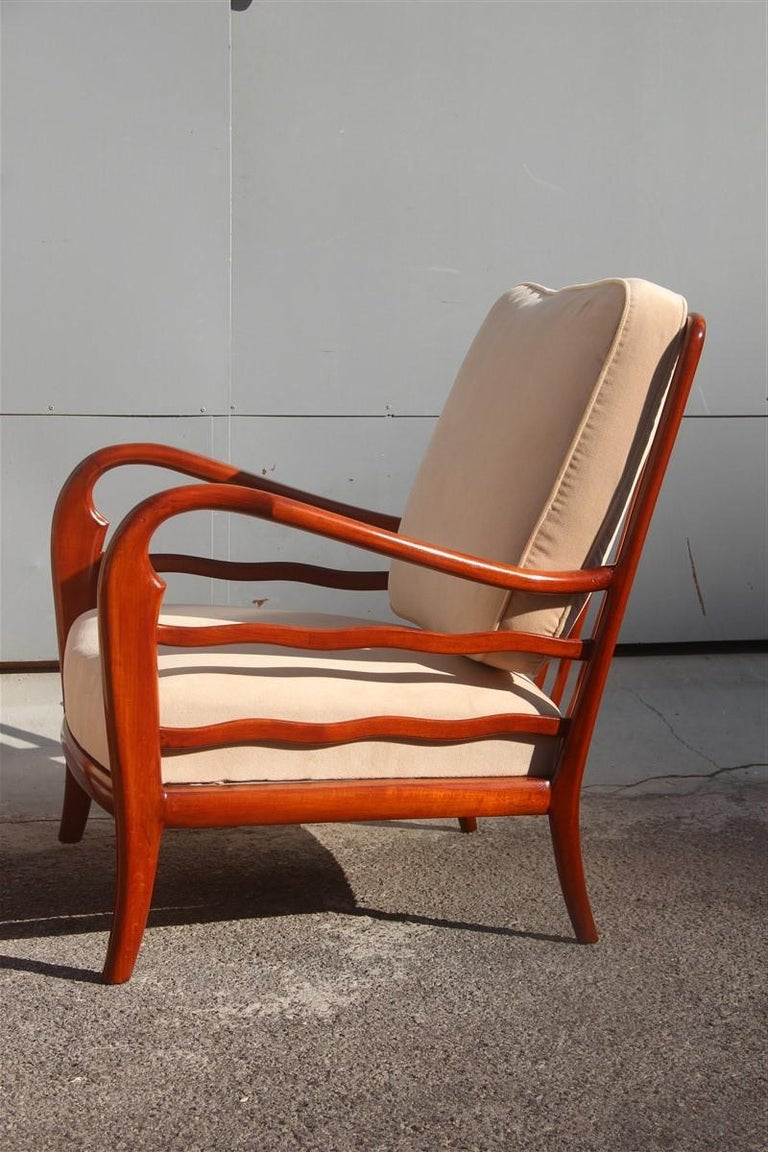 Pair of Armchairs Cherrywood Paolo Buffa Midcentury Italian Design 1950 Beige For Sale 1