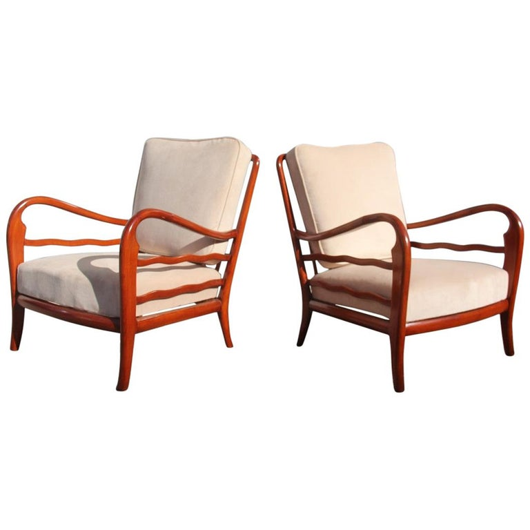 Pair of Armchairs Cherrywood Paolo Buffa Midcentury Italian Design 1950 Beige For Sale