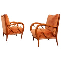 Pair of Armchairs Rust Orange Velvet Cherry Italian Design Paolo Buffa Style