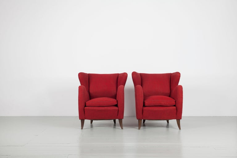 Melchiorre Bega Italian Pair of Armchairs, 1950s For Sale 4