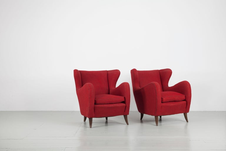 Melchiorre Bega Italian Pair of Armchairs, 1950s For Sale 5