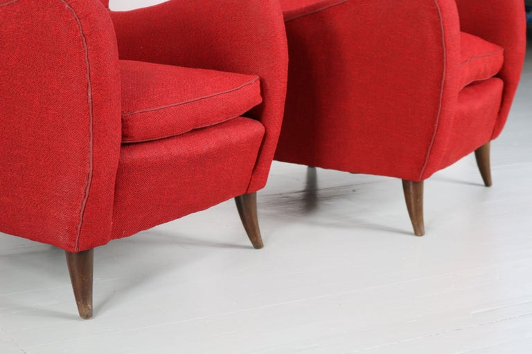Melchiorre Bega Italian Pair of Armchairs, 1950s For Sale 6