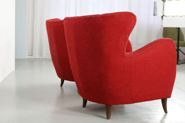 Melchiorre Bega Italian Pair of Armchairs, 1950s For Sale 7
