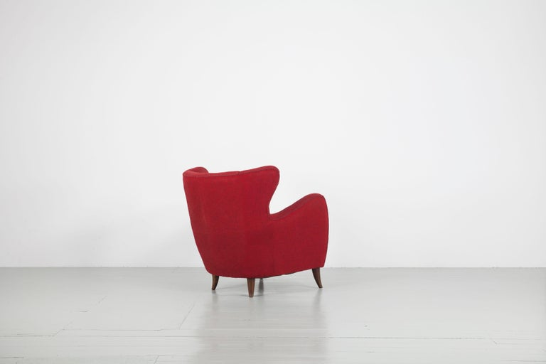 Textile Melchiorre Bega Italian Pair of Armchairs, 1950s For Sale