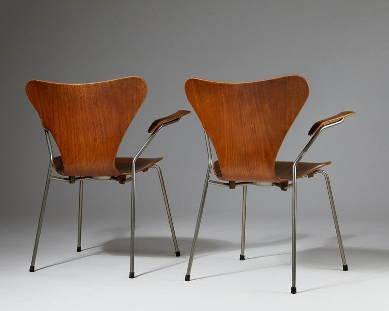 Teak Pair of Armchairs Designed by Arne Jacobsen for Fritz Hansen, Denmark. 1950's.  For Sale