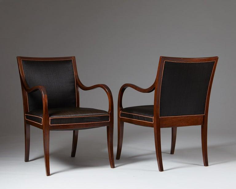 Danish Pair of Armchairs Designed by Frits Henningsen for Frits Henningsen, Denmark, 19