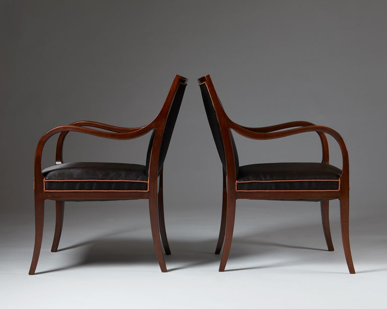 Mid-20th Century Pair of Armchairs Designed by Frits Henningsen for Frits Henningsen, Denmark, 19