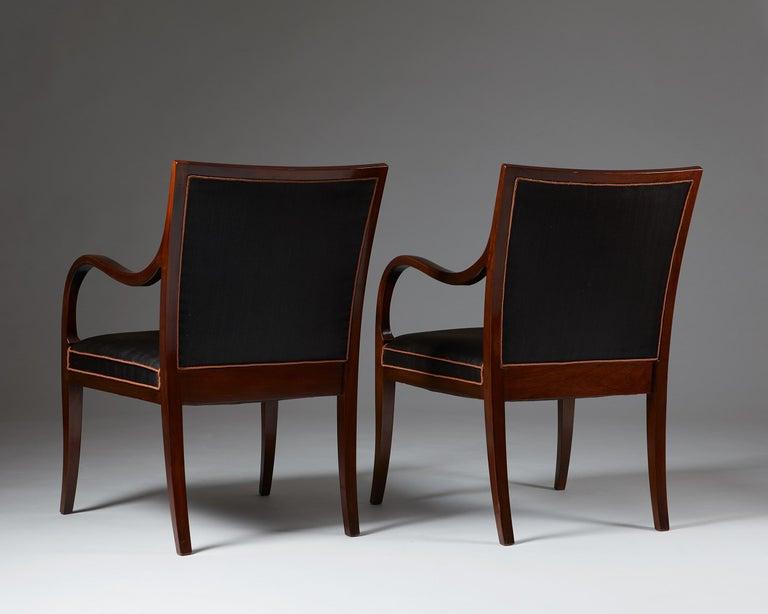 Mahogany Pair of Armchairs Designed by Frits Henningsen for Frits Henningsen, Denmark, 19