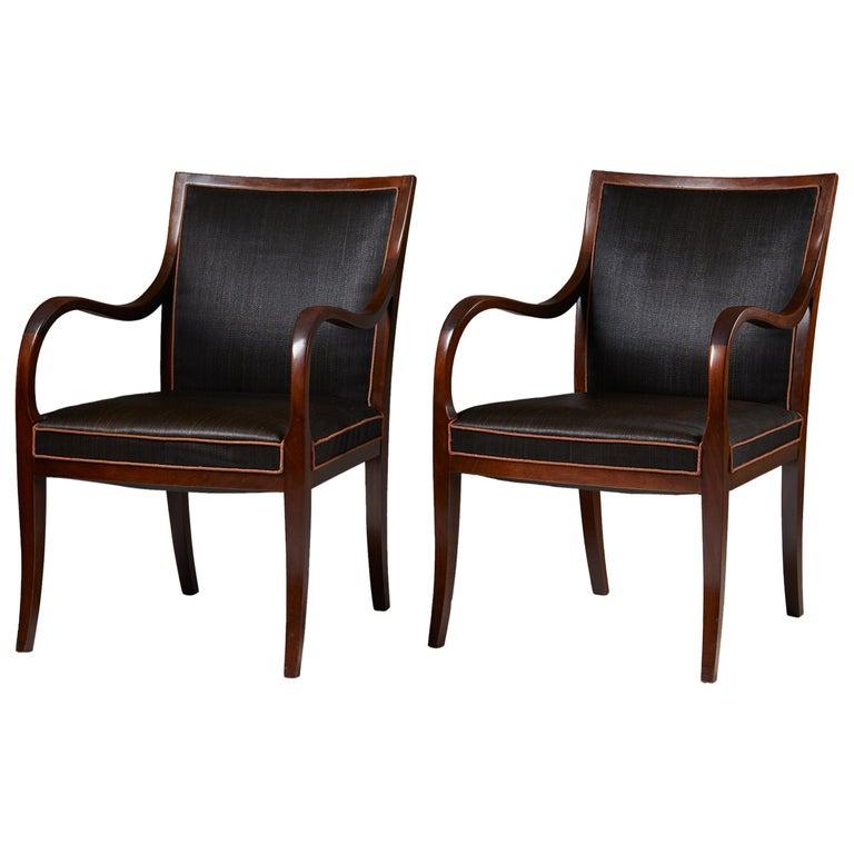 Pair of Armchairs Designed by Frits Henningsen for Frits Henningsen, Denmark, 19