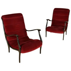 Pair of Armchairs Ezio Longhi Velvet Stained Wood, Italy, 1950s-1960s