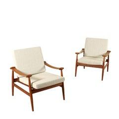 Pair of Armchairs Finn Juhl Fabric Upholstery Vintage, Denmark, 1960s