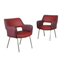 Pair of Armchairs Foam Leatherette Chromed Metal, Italy, 1950s 1960s