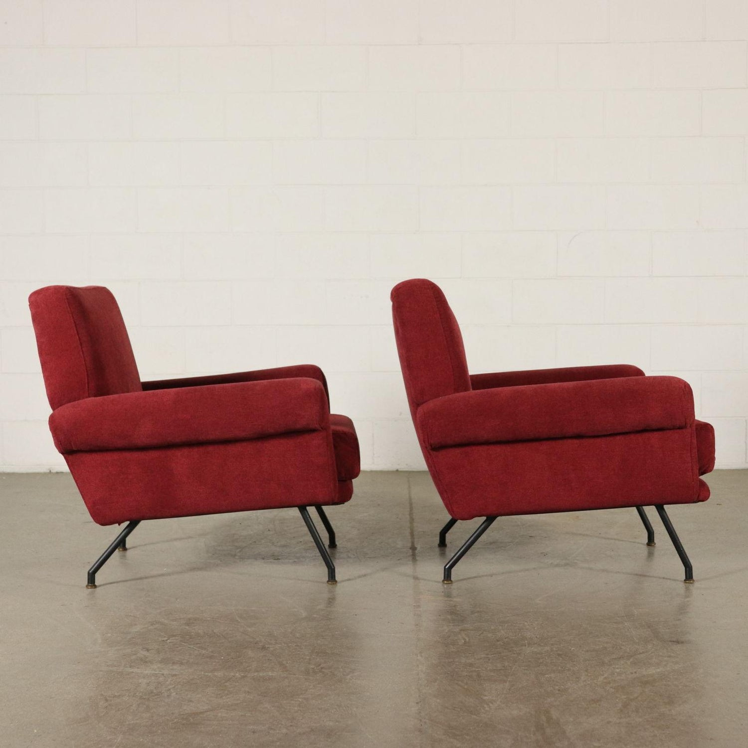 Pair of armchairs foam padding fabric vintage italy 1960s for sale at 1stdibs