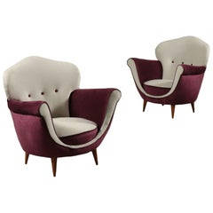 Pair of Armchairs Foam Spring Velvet, Italy, 1950s