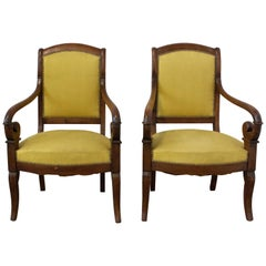 Pair of Armchairs French Louis Philippe 19th Century to be Re-Upholstered