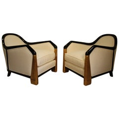"Pair of Armchairs from the Liner ""Le Normandie"" by Léon Jallot, 1930s"