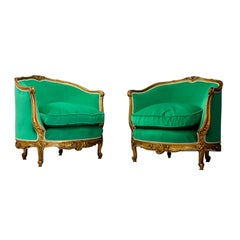 Pair of Armchairs Green Late 19th Century Louis XV Style in Gilded Carved Wood