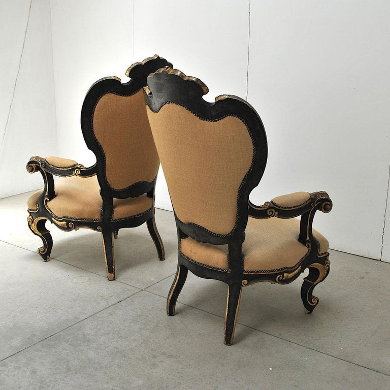 Pair of Armchairs in Black Lacquer Wood, Mid-18th Century For Sale 5