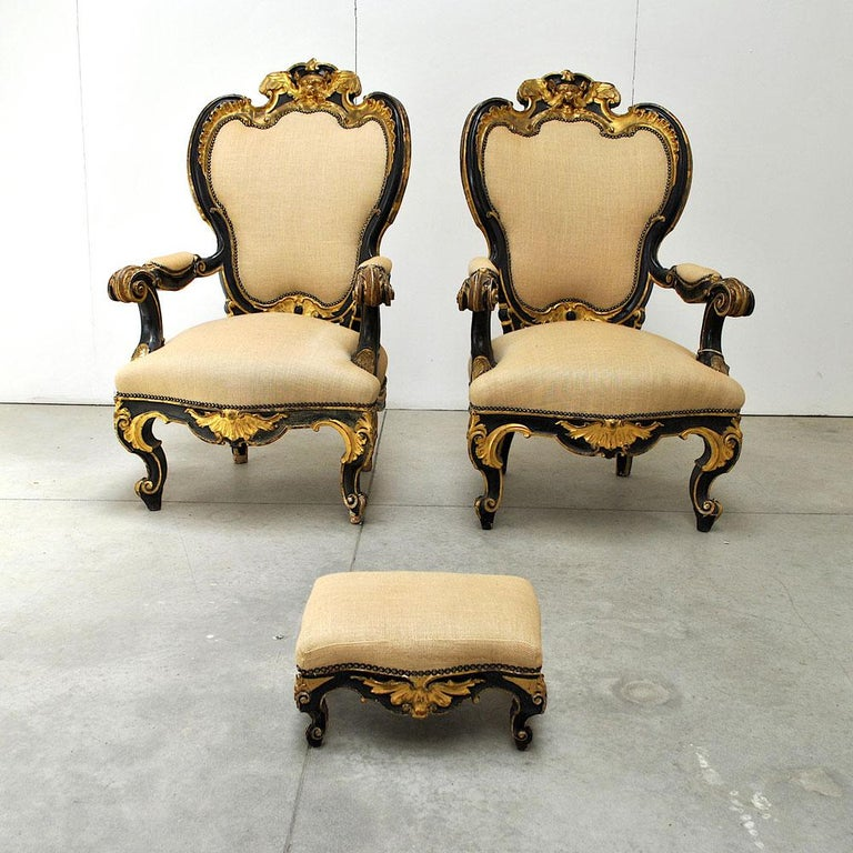 Louis Philippe Pair of Armchairs in Black Lacquer Wood, Mid-18th Century For Sale