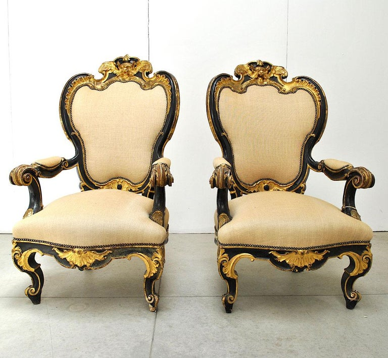 Pair of Armchairs in Black Lacquer Wood, Mid-18th Century In Good Condition For Sale In bari, IT