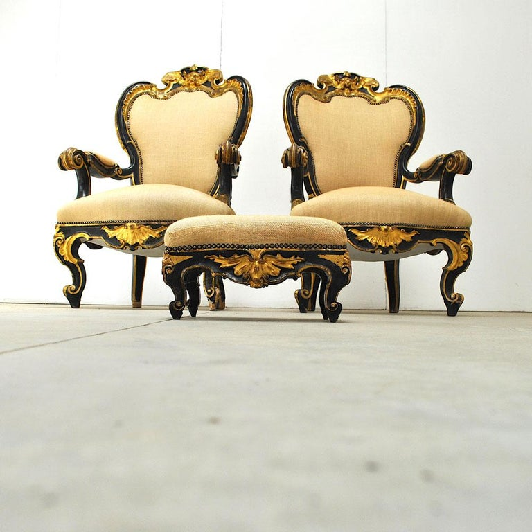 Pair of Armchairs in Black Lacquer Wood, Mid-18th Century For Sale 1