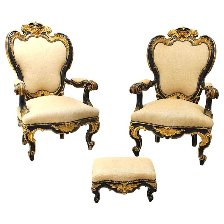 Pair of Armchairs in Black Lacquer Wood, Mid-18th Century For Sale