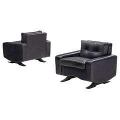 Pair of Armchairs in Black Leather by Franz Sartori for Flexform