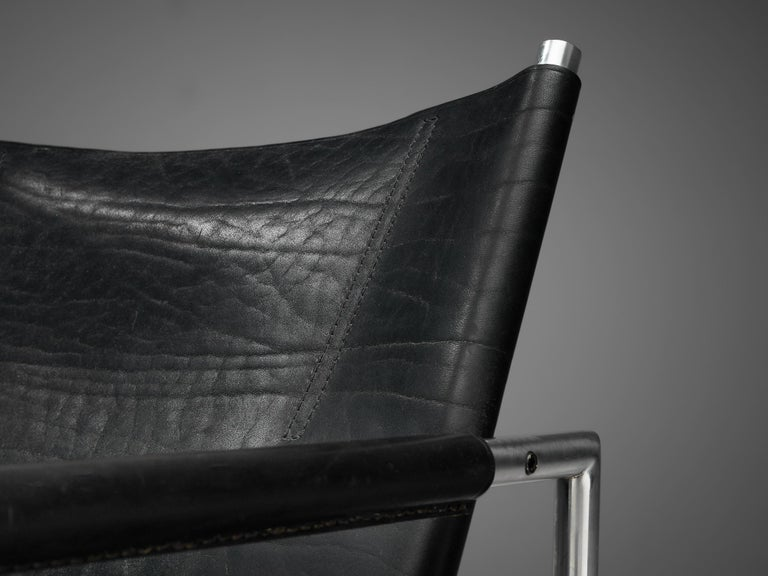 Pair of Armchairs in Black Leather by Martin Visser For Sale 3