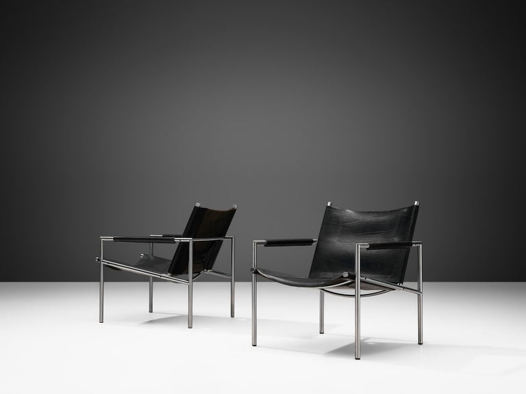 Pair of Armchairs in Black Leather by Martin Visser In Good Condition For Sale In Waalwijk, NL
