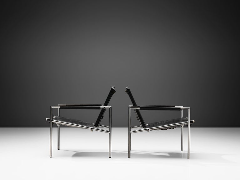 Metal Pair of Armchairs in Black Leather by Martin Visser For Sale