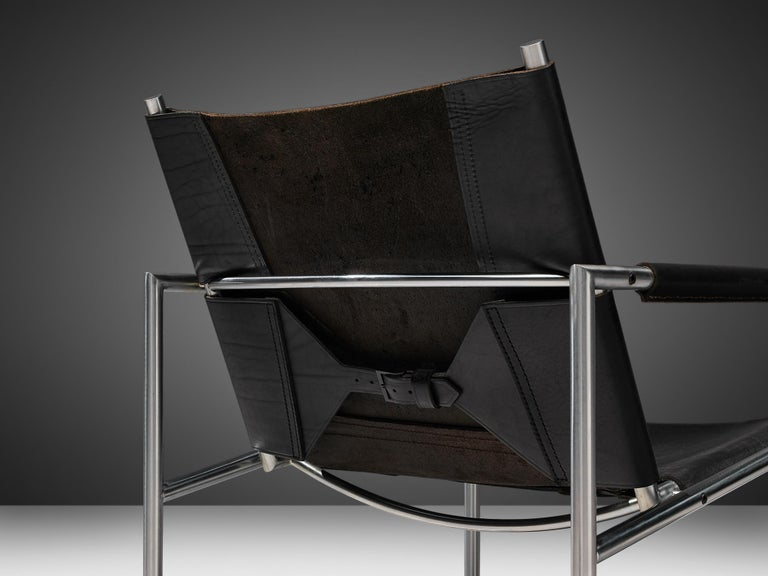 Pair of Armchairs in Black Leather by Martin Visser For Sale 1