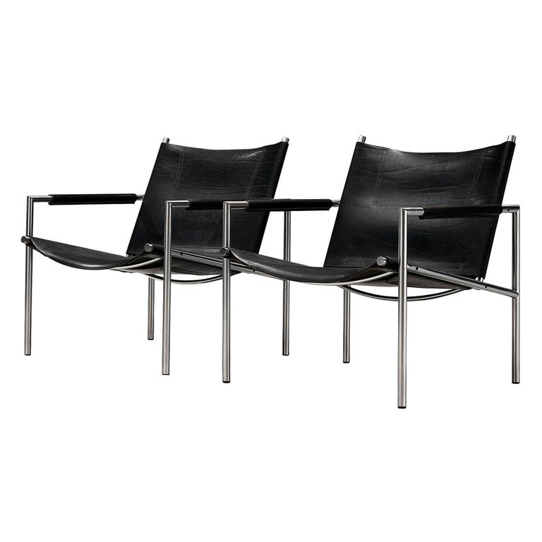 Pair of Armchairs in Black Leather by Martin Visser For Sale