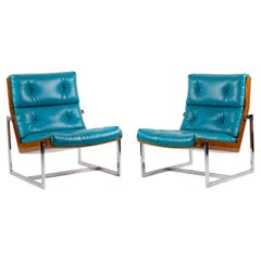 William Plunkett, Pair of Armchairs in Blue Leather and Plywood, 1970s