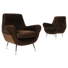 Pair of Armchairs in Brown Velvet, 1960s