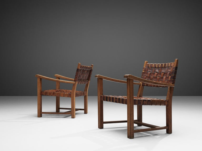 European Pair of Armchairs in Cognac Leather and Oak For Sale