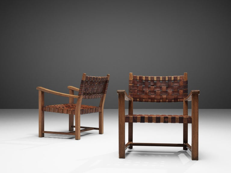 Pair of Armchairs in Cognac Leather and Oak In Good Condition For Sale In Waalwijk, NL