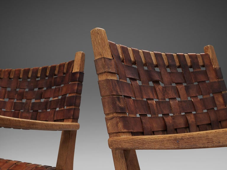 Pair of Armchairs in Cognac Leather and Oak For Sale 1