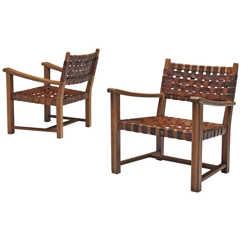 Pair of Armchairs in Cognac Leather and Oak For Sale