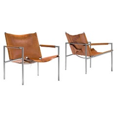 Pair of Armchairs in Cognac Leather by Martin Visser