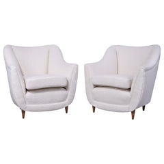 Pair of Armchairs in Gio Ponti Style, Italy 1950s, in Nobilis Bouclette