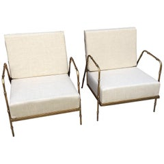 Pair of Armchairs in Golden Iron and Fabric