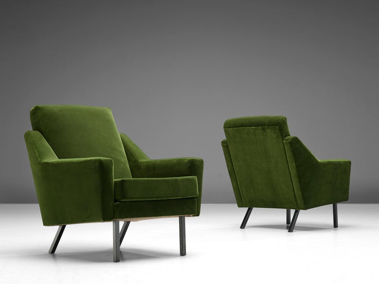Pair of lounge chairs, green colored velvet and lacquered metal, Europe, 1960s.
