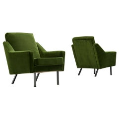 Pair of Armchairs in Green Velvet Upholstery