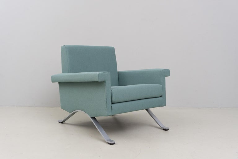 Italian Pair of Armchairs in Grey-Green, Model '875', Ico Parisi, 1960 For Sale