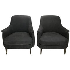 Pair of Armchairs in Light Grey Nubuk Leather with Black Chrome Legs by Cierre