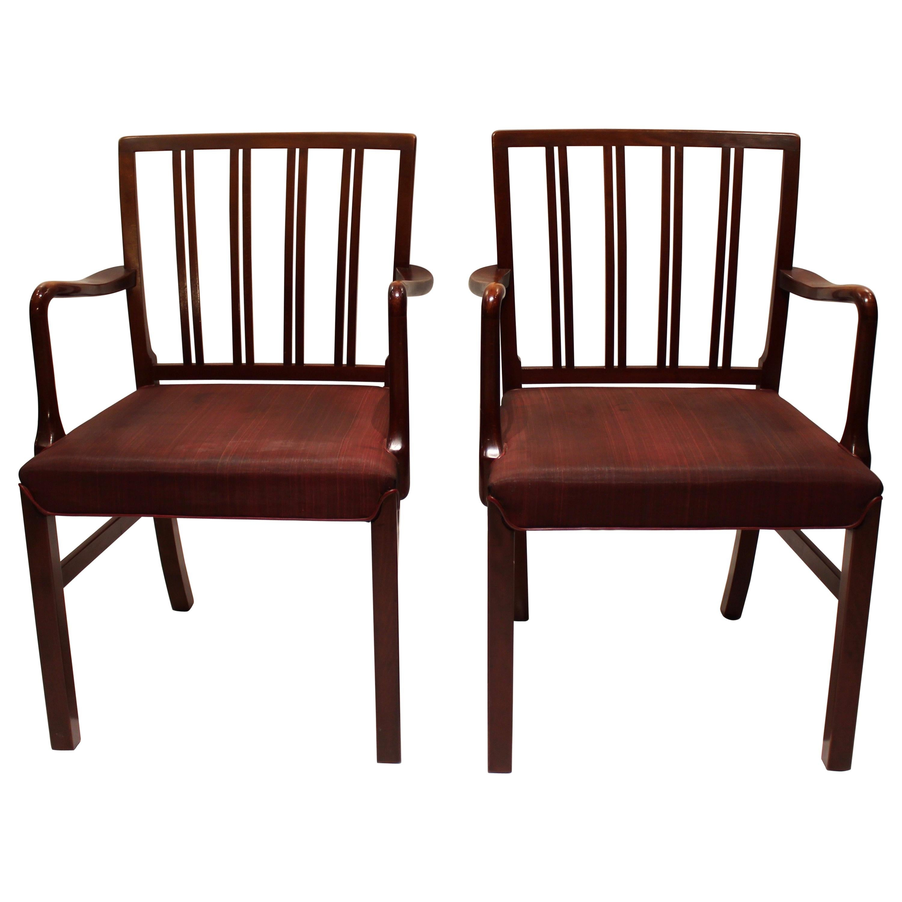 Pair of Armchairs in Mahogany and Red Fabric by Fritz Hansen, 1930s