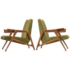 Pair of Armchairs in Moss Green Upholstery by Augusto Romano